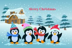 Weihnachtswinterurlaubhintergrund mit netten Karikaturpinguinen stock abbildung