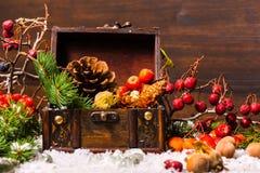 Weihnachtswinterzusammensetzung mit Kasten, Apfel, Nüsse, Kegel, Brustbeeren Stockbilder