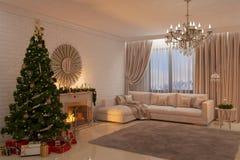Weihnachtswohnzimmer mit Kamin, Baum und Geschenken Stockfotografie