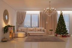 Weihnachtswohnzimmer mit Kamin, Baum und Geschenken Stockbilder