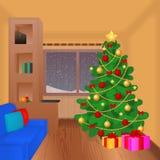 Weihnachtswohnzimmer mit Weihnachtsbaum, -geschenken, -couch und -dekoration Weihnachtskarte in der Karikaturart Vektor Stockfotos