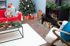 Weihnachtswohnzimmerdekoration Stockfotografie