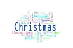 Weihnachtswortwolke Stockfotos