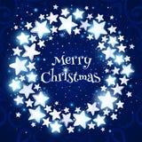 Weihnachtswreath auf blauem Hintergrund vektor abbildung