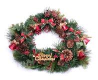 Weihnachtswreath getrennt auf weißem Hintergrund Stockbilder