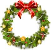 Weihnachtswreath mit Poinsettiablumen Lizenzfreie Stockfotos