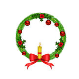Weihnachtswreath mit rotem Bogen und Kerze Stockfotografie