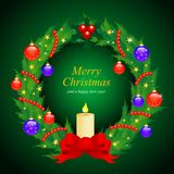 Weihnachtswreath mit Weihnachtsspielwaren Stockbild