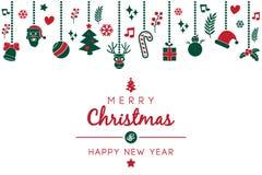 Weihnachtswunsch mit Weihnachtsillustrationsverzierung lizenzfreie abbildung