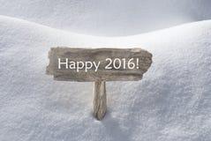Weihnachtszeichen mit Schnee und Text glückliches 2016 Lizenzfreies Stockfoto