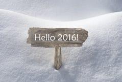 Weihnachtszeichen mit Schnee und Text hallo 2016 Lizenzfreie Stockfotos