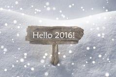 Weihnachtszeichen-Schnee und Schneeflocken hallo 2016 Stockbilder