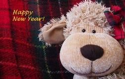 """Weihnachtszeit †""""lustiges Spielzeug-Affegesicht mit warmem rotem Plaidhintergrund Stockbild"""