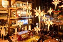 Weihnachtszeit am Columbus-Kreis in New York Stockbilder