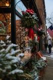 Weihnachtszeit 2017 in Troja NY im Stadtzentrum gelegen während des Schneesturms Stockfoto