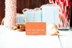 Weihnachtszusammensetzung neues Jahr Rabattkonzept orange c verkaufend Lizenzfreie Stockbilder