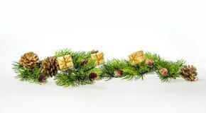 Weihnachtszusammensetzung von Baumasten und von Geschenken Stockfotografie