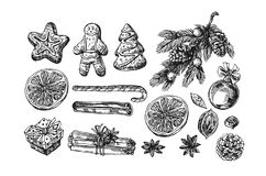 Weillustration christmas food. Hand drwan sketch illustration christmas food. Sketch style drawing. Us for Invitations, flyers, postcards, web etc Royalty Free Stock Photo