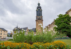 Weimar castle tower unesco flower bed park view Germany Royalty Free Stock Photo