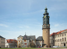 Weimar City Castle, Tower and Bastille, Germany. Weimar City Castle (17th-18th century), Tower (1728 by Gottfried Heinrich Krohne) and Bastille (18th century) Stock Image