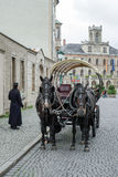 WEIMAR, GERMANY/EUROPE - SEPTEMBER 14 : Horses and carriage in W. Eimar Germany on September 14, 2014. Unidentified people royalty free stock image