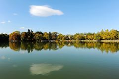 Weiming Lake in Peking University. Aun scenery of Weiming Lake,The Unnamed Lake in Peking University stock photography
