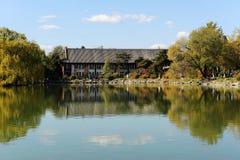 Weiming Lake in Peking University. Aun scenery of Weiming Lake,The Unnamed Lake in Peking University stock image