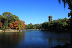 Weiming Lake,The Unnamed Lake. Boya Tower,Weiming Lake,The Unnamed Lake Royalty Free Stock Photo