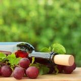 Wein auf grünem Sommerhintergrund Stockfotografie