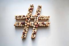 Wein bekorkt hashtag Symbol stockfoto