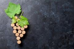 Wein bekorkt Traubenform und -rebe stockfotografie