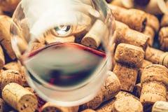 Wein bekorkt Traubenform und -rebe auf Steintabelle Draufsicht mit Kopienraum für Ihren Text stockfotografie