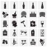 Wein bezog sich die Ikonen, die auf Quadrathintergrund f?r Grafik und Webdesign eingestellt wurden Einfaches Vektorzeichen Intern vektor abbildung
