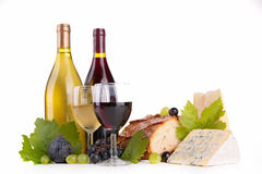 Wein and cheese Stock Images
