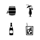 Wein Einfache in Verbindung stehende Vektor-Ikonen lizenzfreie abbildung