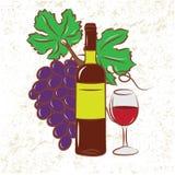 Wein-Flasche und Trauben vektor abbildung