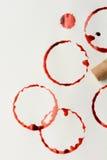 Wein-Flecke und Korken Stockfotografie