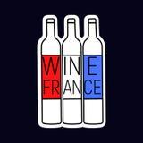 Wein-Frankreich-Baumflasche mit roter und blauer, weißer Farbe der Flagge Lizenzfreie Stockfotos