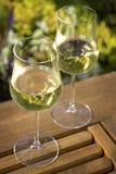 Wein-Gläser auf im Freientabelle Lizenzfreie Stockbilder