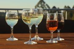 Wein-Gläser bei Sonnenuntergang stockbild