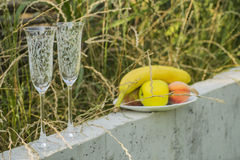 Wein-Gläser mit Verzierungen und Früchten im Familien-Yard Lizenzfreies Stockfoto