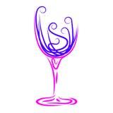 Wein-Glas stellt Alkoholiker und Feiern Winetasting dar stock abbildung