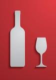 Wein-Glas und Flasche Stockfotos