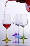 Wein glases mit Dekantiergefäß Stockfotografie