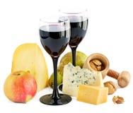 Wein, Käse und Apfel lizenzfreie stockfotografie