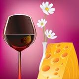 Wein Käse und Margaretas Lizenzfreie Stockfotos