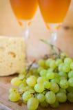 Wein, Käse und Trauben Lizenzfreies Stockbild