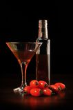 Wein mit Tomaten stockfotografie