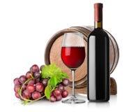 Wein mit Traube und Fass lizenzfreies stockbild