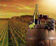 Wein mit Weinberg auf Hintergrund Stockbild